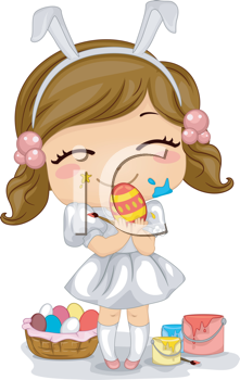 Royalty Free Clipart Image of a Girl Making Easter Eggs