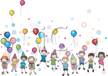Royalty Free Clipart Image of Children at a Party