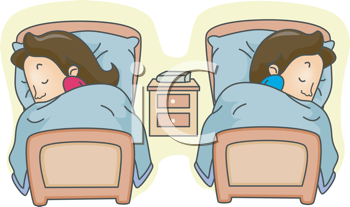 Royalty Free Clipart Image of a Couple Sleeping in Twin Beds