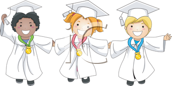 Royalty Free Clipart Image of Children With Medals