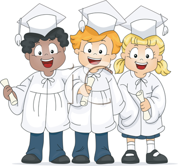 Royalty Free Clipart Image of a Group of Graduates