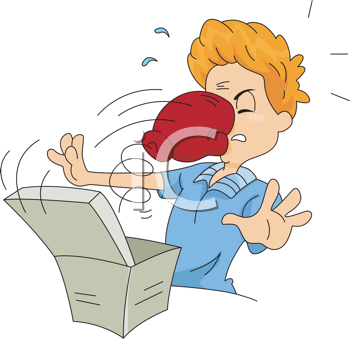 Royalty Free Clipart Image of a Boxing Glove Coming Out of a Box To Hit a Man