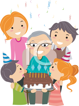 Royalty Free Clipart Image of a Family Celebrating Grandpa's Birthday With Him