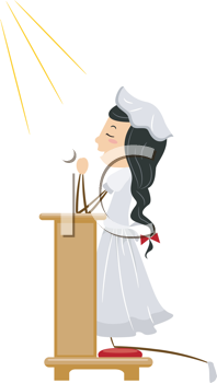Royalty Free Clipart Image of a Girl Praying