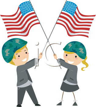 Royalty Free Clipart Image of Children Waving a US Flag