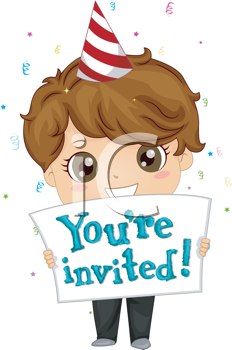 Royalty Free Clipart Image of a Boy With a Party Invitation