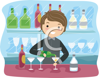 Royalty Free Clipart Image of a Bartender