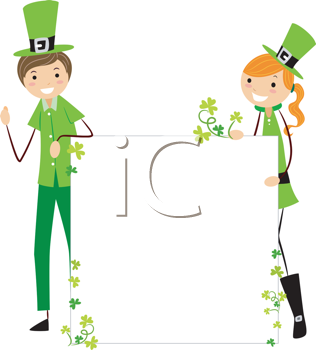 Royalty Free Clipart Image of an Irish Boy and Girl Holding a Blank Sign