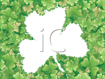 Royalty Free Clipart Image of a Shamrock Frame