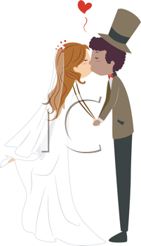 Royalty Free Clipart Image of an Interracial Couple Kissing