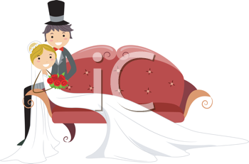 Royalty Free Clipart Image of a Bridal Couple on a Couch