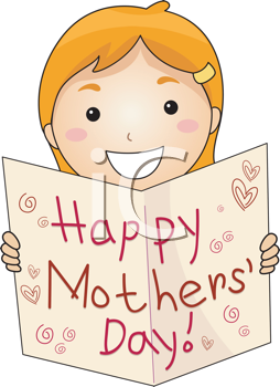 Royalty Free Clipart Image of a Child With a Mother's Day Card