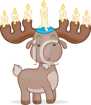 Royalty Free Clipart Image of a Deer With Candles on Its Antlers