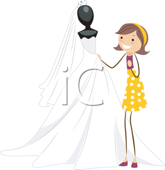 Royalty Free Clipart Image of a Woman Looking at a Bridal Gown