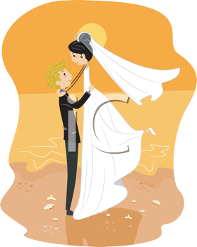 Royalty Free Clipart Image of a Couple on the Beach