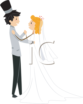 Royalty Free Clipart Image of a Bridal Couple Dancing