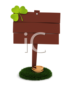 3D Illustration of a Blank Board with Shamrock and some gold coins