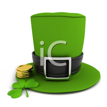 3D Illustration of a leprechaun's hat, shamrock and some gold coins