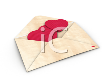3D Illustration of an Open Envelope with Heart-Shaped Pieces of Paper Inside