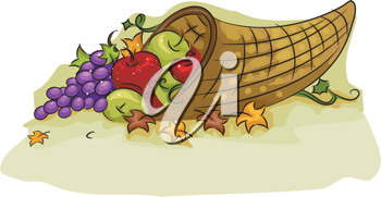 Illustration of a Cornucopia Basket for Thanksgiving
