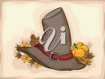 Illustration of a Pilgrim Hat Surrounded by Autumn Leaves