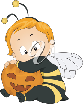 Illustration of a Baby Dressed as a Honeybee