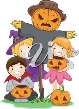 Illustration of Kids Posing Beside a Scarecrow