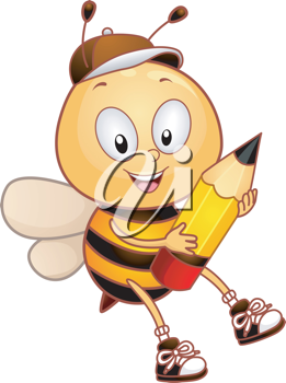 Illustration of a Bee Carrying a Pencil