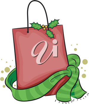 Illustration of a Shopping Bag with a Christmas Theme