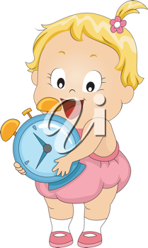 Illustration of a Toddler Carrying an Alarm Clock