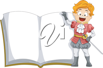 Illustration of a Kid Dressed as a Prince Standing Beside a Book