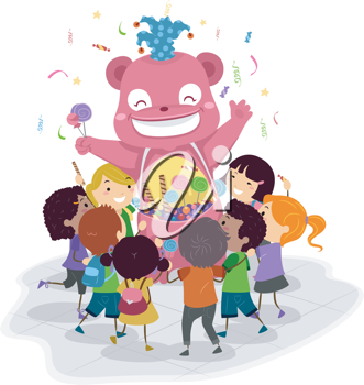 Illustration of a Candy Mascot Gving Candies Away