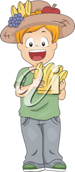 Illustration of a Kid Holding Bananas