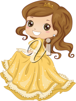 Illustration Featuring a Girl Dressed as a Princess