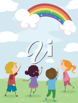 Illustration of Kids Admiring a Rainbow