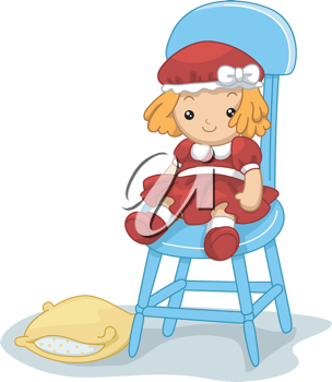 Illustration of a Rag Doll Sitting on a Chair