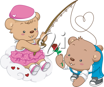 Illustration of Female Teddy Bear Out Fishing