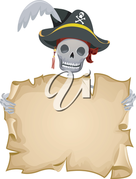 Royalty Free Clipart Image of a Pirate Skeleton Holding a Blank Scroll