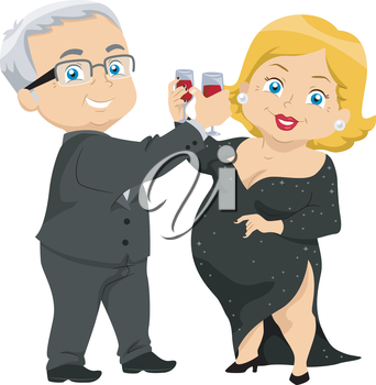 Royalty Free Clipart Image of an Older Couple Toasting