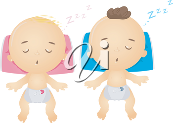 Royalty Free Clipart Image of Sleeping Babies