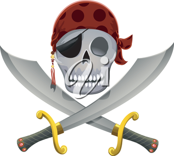 Royalty Free Clipart Image of a Pirate Skull Over Crossed Scimitars