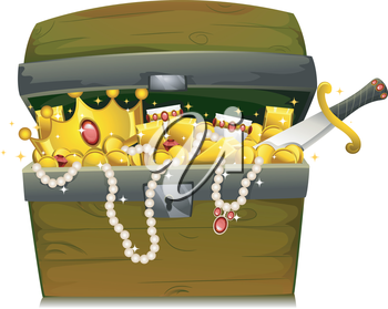 Royalty Free Clipart Image of a Chest Filled With Gold and Jewels