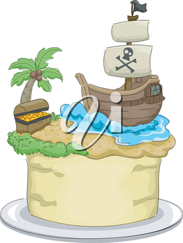 Royalty Free Clipart Image of a Pirate Themed Cake