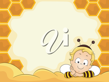 Royalty Free Clipart Image of a Baby in a Bee Costume at a Honeycomb Frame