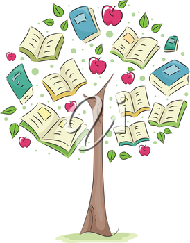 Royalty Free Clipart Image of a Tree With Books and Apples as Leaves