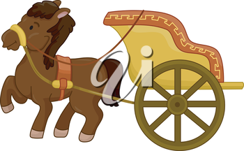 Royalty Free Clipart Image of a Horse and Chariot