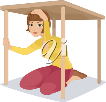 Royalty Free Clipart Image of a Woman Under a Table