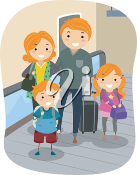 Royalty Free Clipart Image of a Family at an Airport