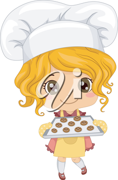 Royalty Free Clipart Image of a Girl Baking Cookies