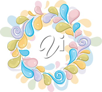 Royalty Free Clipart Image of a Splash Circle in Pastels
